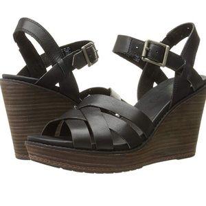f1e0c8d9280b3 Timberland Shoes - Timberland Danforth leather wedge sandal, black